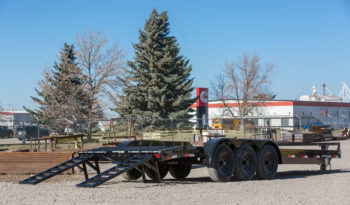 22′ Triple Axle Equipment Trailer w/ 2′ Beavertail – Fold Up Ramps full
